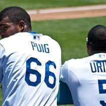 Yasiel Puig and Juan Uribe Dodgers - Photo Credit: Ron Reiring  (Flickr Creative Commons)
