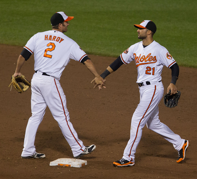 J.J. Hardy Nick Markakis - Photo Credit - Keith Allison