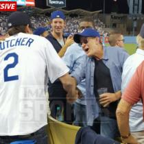 Charlie Sheen and Ashton Kutcher at Dodgers Stadium