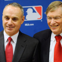 NEW YORK, NY - NOVEMBER 22:  (L-R) Major League Baseball Executive Vice President Rob Manfred, Major League Baseball Commissioner Bud Selig and Major League Baseball Players Association Executive Director Michael Weiner attend a news conference at MLB headquarters on November 22, 2011 in New York City. Selig and Weiner announced a new five-year labor agreement between the MLB and the MLBPA.  (Photo by Patrick McDermott/Getty Images)